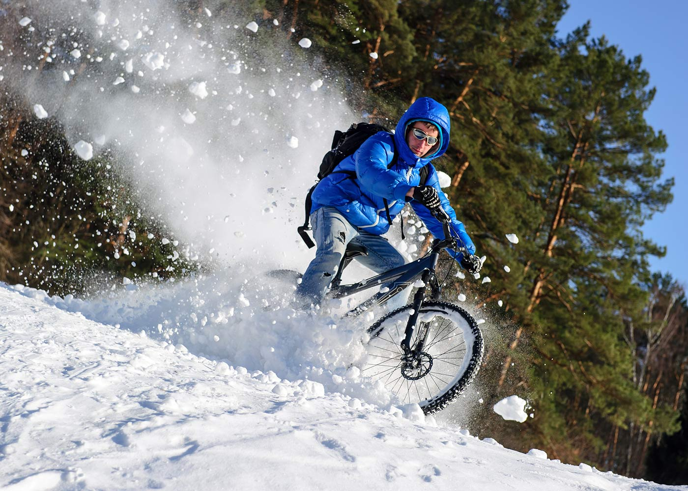 Mountain Bike riding in snow