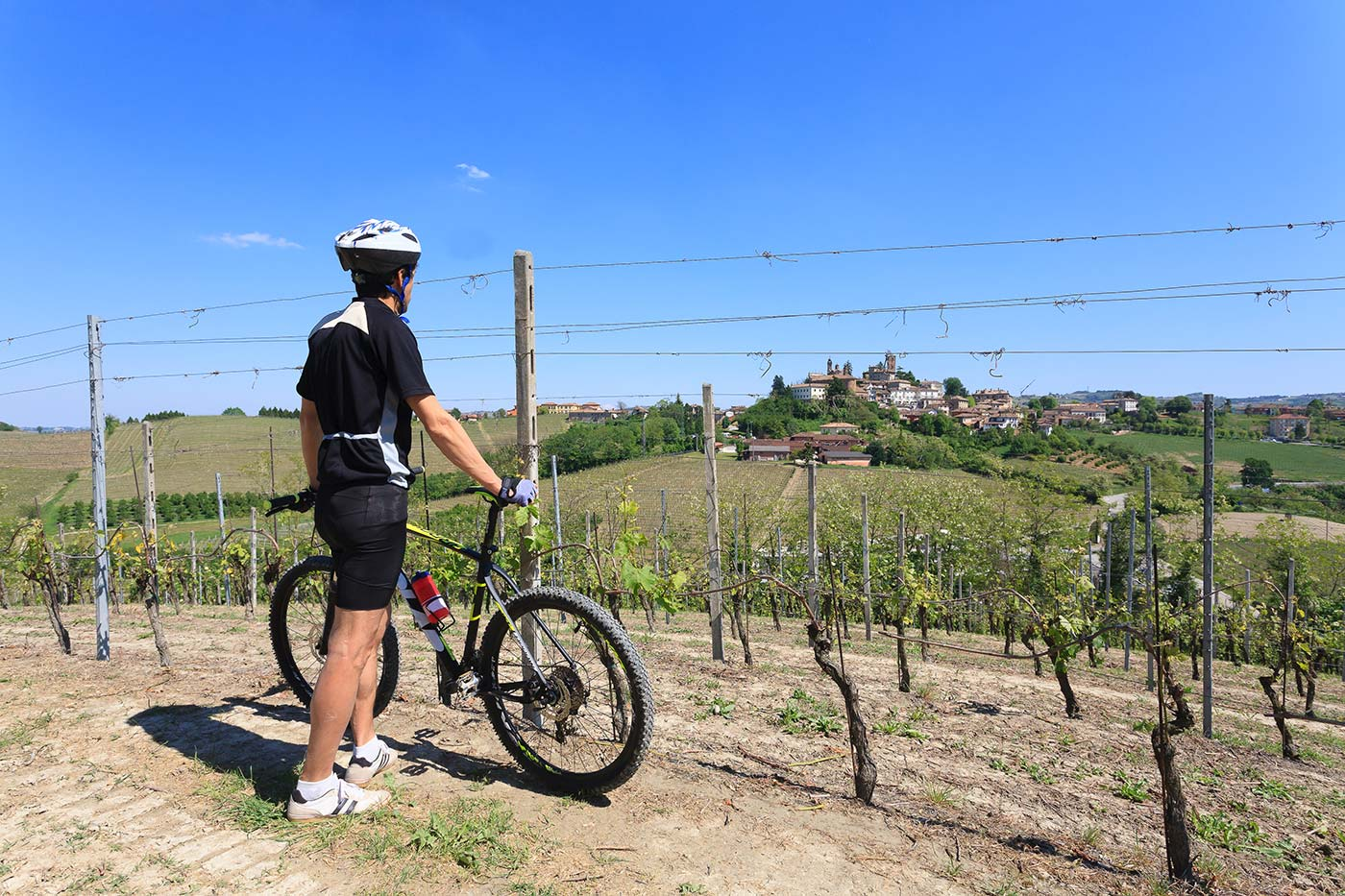 Cyclist explore Langhe vineyards